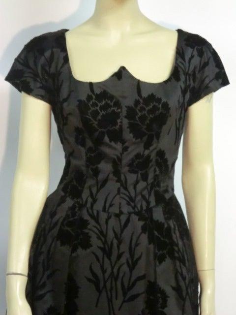 50s Silk Flocked Brocade Samuel Winston Party Dress image 5