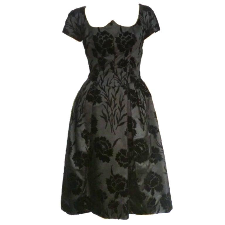 50s Silk Flocked Brocade Samuel Winston Party Dress