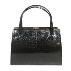 Large Lucille de Paris Black Crocodile 50s Handbag