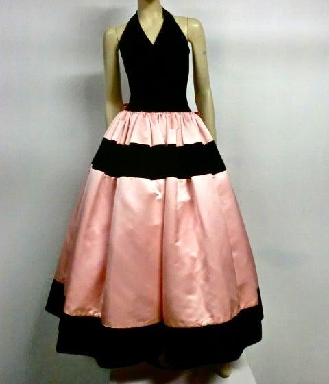 Escada Satin and Velvet Ball Gown w/ Stole 2