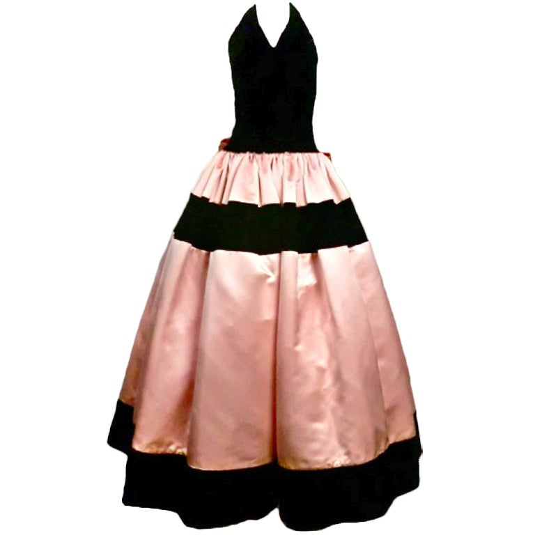 Escada Satin and Velvet Ball Gown w/ Stole 1