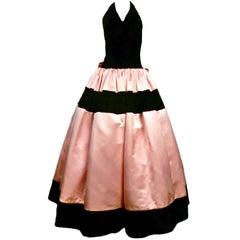 Escada Satin and Velvet Ball Gown w/ Stole