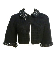 50s Knit Evening Sweater with Rhinestone and Lace Details