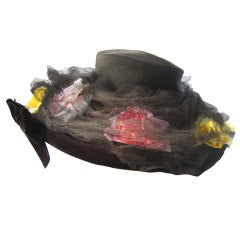 1950's Dramatic Sheer Straw & Silk Flower Trimmed Hat with Tulle