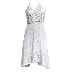Zac Posen White Textured Silk Cocktail Dress with Deep Back