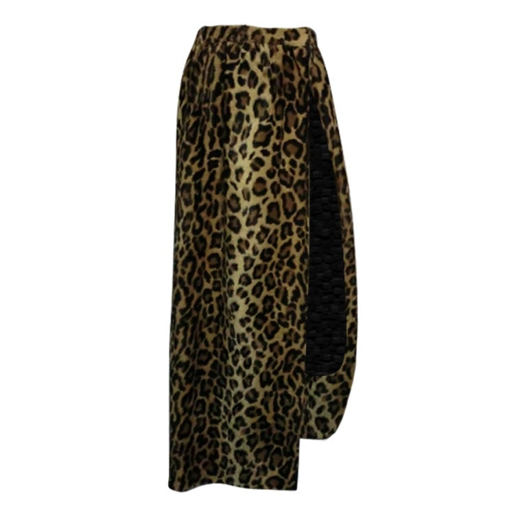 60s faux leopard maxi wrap skirt at 1stdibs