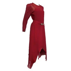 Adolfo 70s Vivid Red Silk Gown w/ Butterfly Hem and Rhinestones