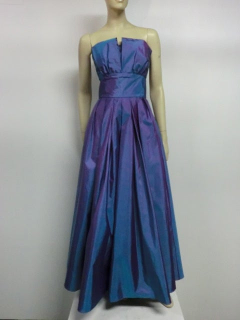 Christian Dior Blue/Purple Iridescent Strapless Silk Ball Gown image 3