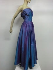 Christian Dior Blue/Purple Iridescent Strapless Silk Ball Gown thumbnail 4