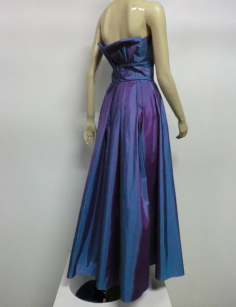 Christian Dior Blue/Purple Iridescent Strapless Silk Ball Gown image 5