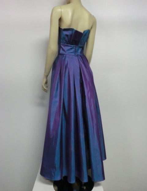 Christian Dior Blue/Purple Iridescent Strapless Silk Ball Gown image 6