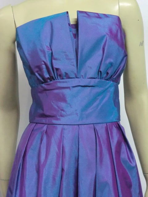 Christian Dior Blue/Purple Iridescent Strapless Silk Ball Gown image 8
