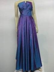 Christian Dior Blue/Purple Iridescent Strapless Silk Ball Gown thumbnail 2