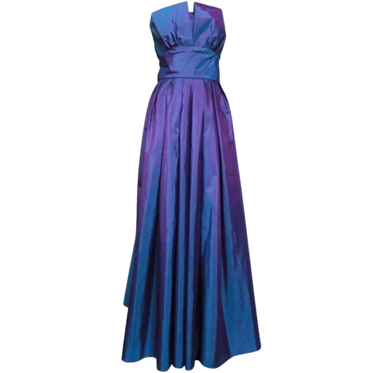 Christian Dior Blue/Purple Iridescent Strapless Silk Ball Gown