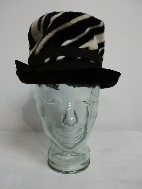 60s Zebra Print Velour Fedora by Noreen 2