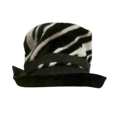 60s Zebra Print Velour Fedora by Noreen