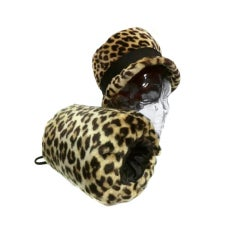 Fabelhaftes Faux Leoparden Hut und Muff Set