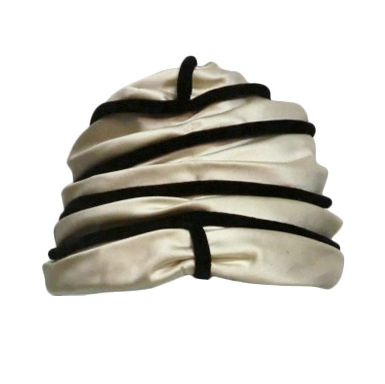 "60s Ivory Satin and Black Velvet ""Beehive"" Toque 1"