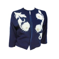 50s Beaded Royal Blue Lamb's Wool Sweater