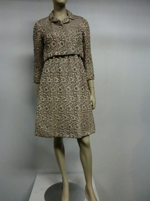 60s Kiki Hart Silk Brocade Babydoll Dress and Jacket 2