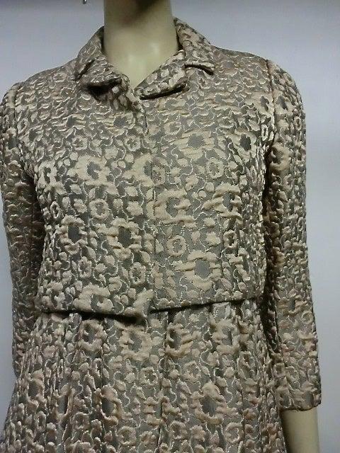 60s Kiki Hart Silk Brocade Babydoll Dress and Jacket 3