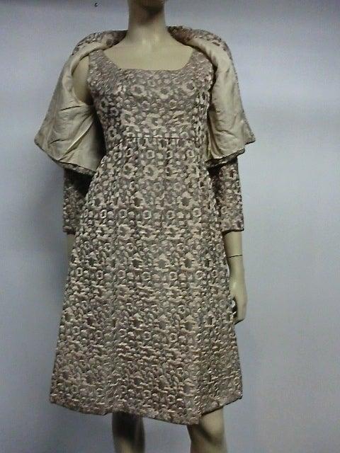 60s Kiki Hart Silk Brocade Babydoll Dress and Jacket 4