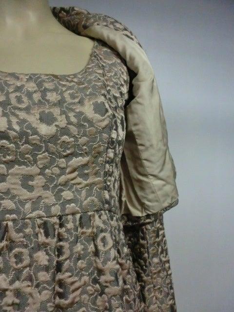 60s Kiki Hart Silk Brocade Babydoll Dress and Jacket 5