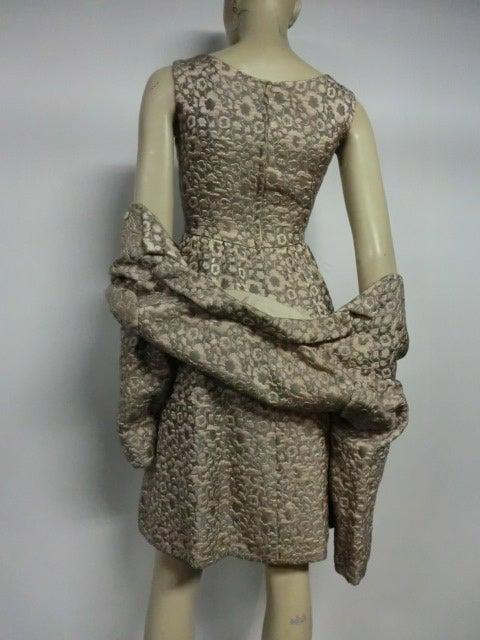 60s Kiki Hart Silk Brocade Babydoll Dress and Jacket 6