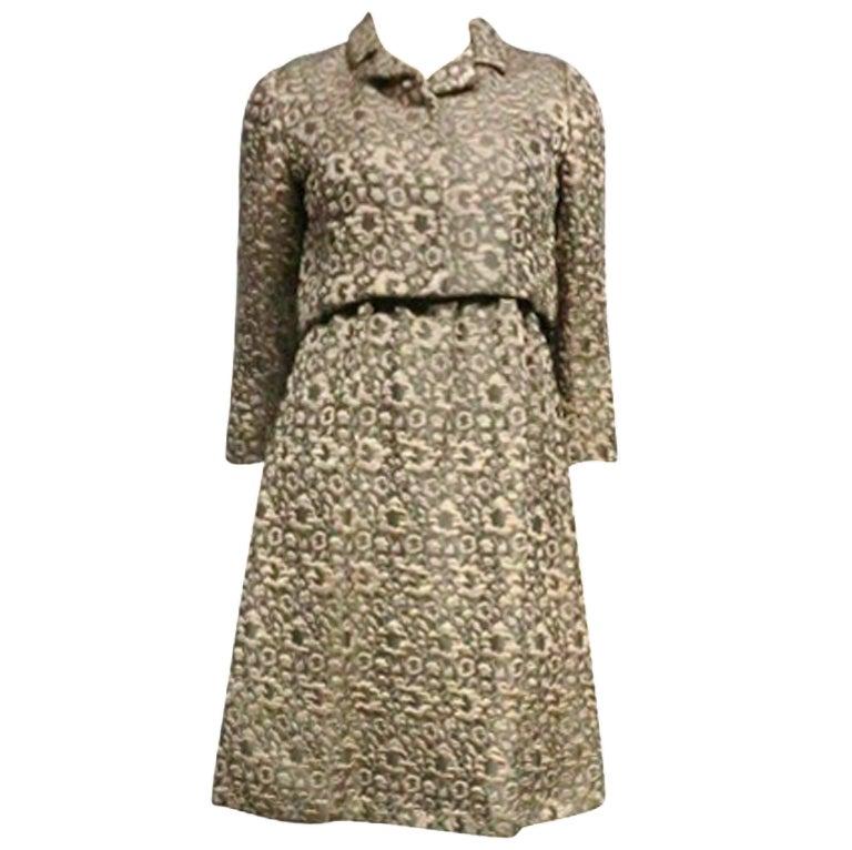 60s Kiki Hart Silk Brocade Babydoll Dress and Jacket 1