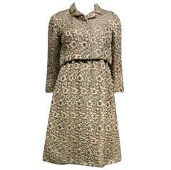 60s Kiki Hart Silk Brocade Babydoll Dress and Jacket