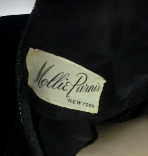 50s Mollie Parnis Black Velvet Cocktail Dress w/ Wide Satin Bow 8