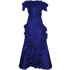 Scaasi Royal Blue Ruffled Silk Taffeta Gown