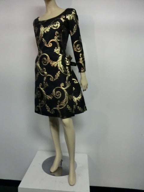 "Scaasi Black and Gold Silk ""Bustle-Back"" Brocade Cocktail Dress image 2"