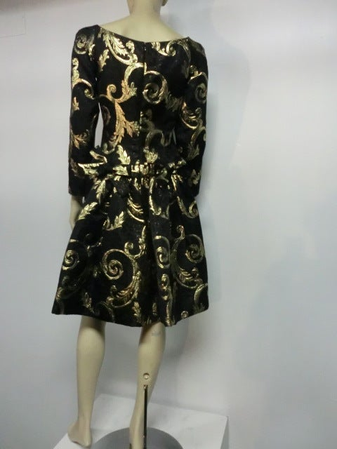 "Scaasi Black and Gold Silk ""Bustle-Back"" Brocade Cocktail Dress image 3"