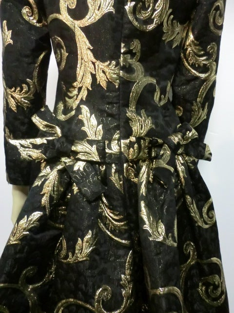 "Scaasi Black and Gold Silk ""Bustle-Back"" Brocade Cocktail Dress 4"