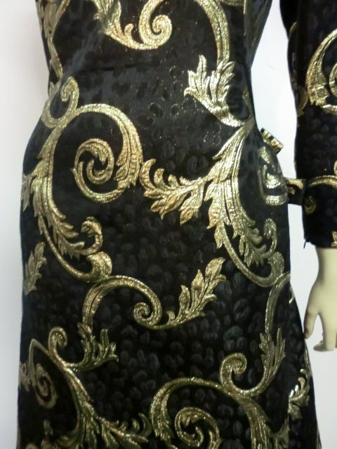 "Scaasi Black and Gold Silk ""Bustle-Back"" Brocade Cocktail Dress 7"