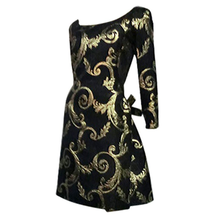 "Scaasi Black and Gold Silk ""Bustle-Back"" Brocade Cocktail Dress"