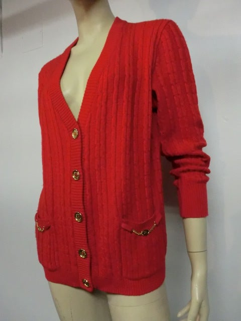 Celine 70s Cardigan Sweater in Vivid Red with Gold Hardware 2