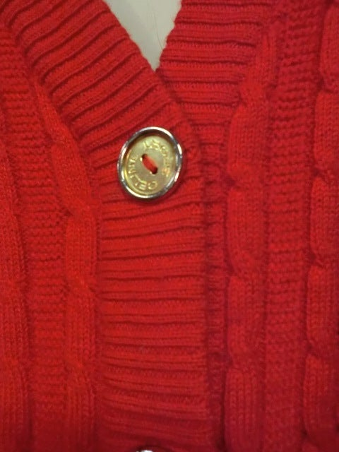 Celine 70s Cardigan Sweater in Vivid Red with Gold Hardware 3