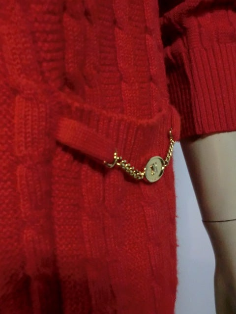 Celine 70s Cardigan Sweater in Vivid Red with Gold Hardware 4