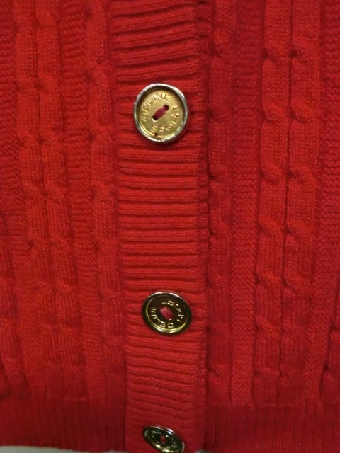 Celine 70s Cardigan Sweater in Vivid Red with Gold Hardware 5
