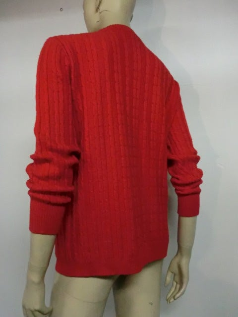 Celine 70s Cardigan Sweater in Vivid Red with Gold Hardware 7