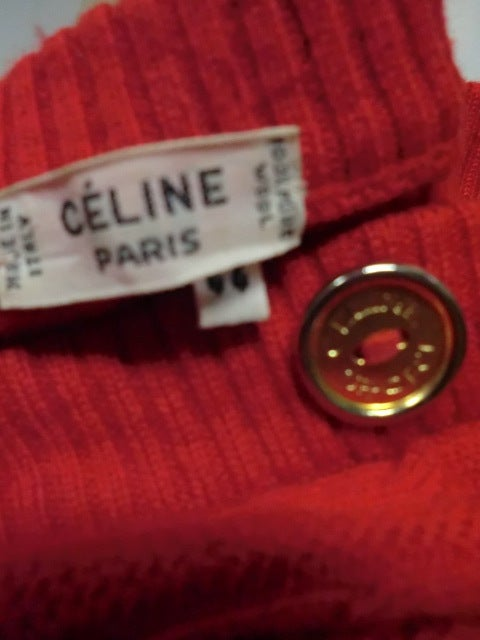 Celine 70s Cardigan Sweater in Vivid Red with Gold Hardware 8