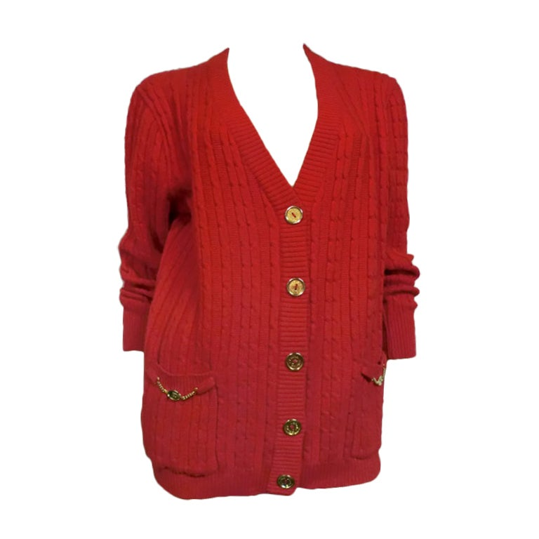 Celine 70s Cardigan Sweater in Vivid Red with Gold Hardware For ...