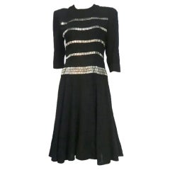 40s Black Wool Fit-and-Flare Dress with Incredible Silver Studs
