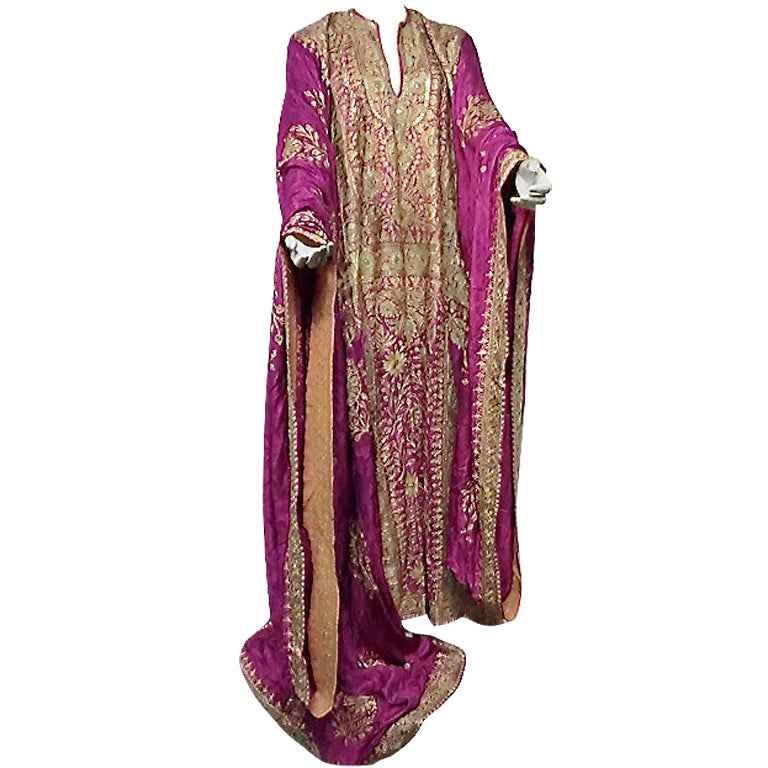Spectacular Silk Embroidered Caftan from Egyptian Court Habitué