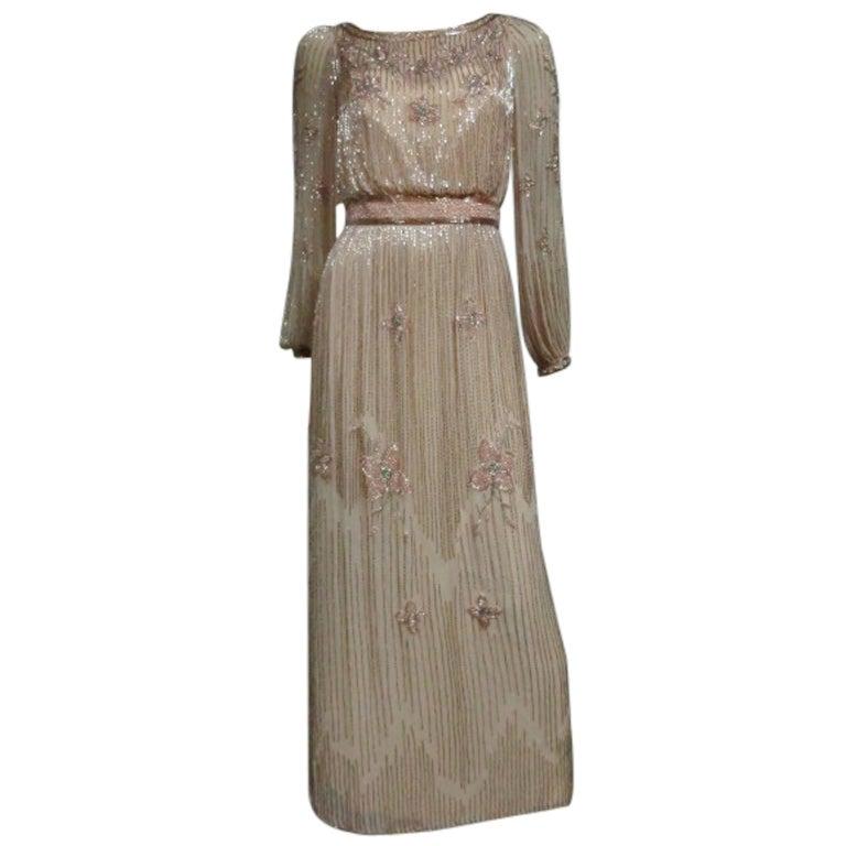 Alfred Bosand 70s Beaded Pale Pink Silk Maxi Dress