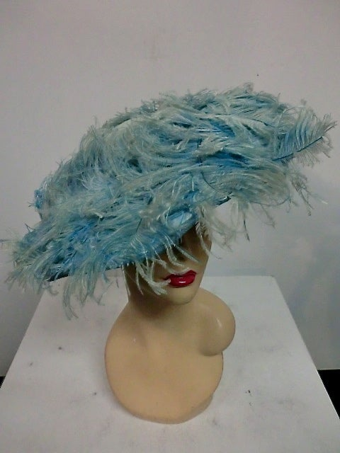 Blue 50s Flo-Raye Pale Aqua Mohair and Silk Velvet Hat w/ Ostrich For Sale