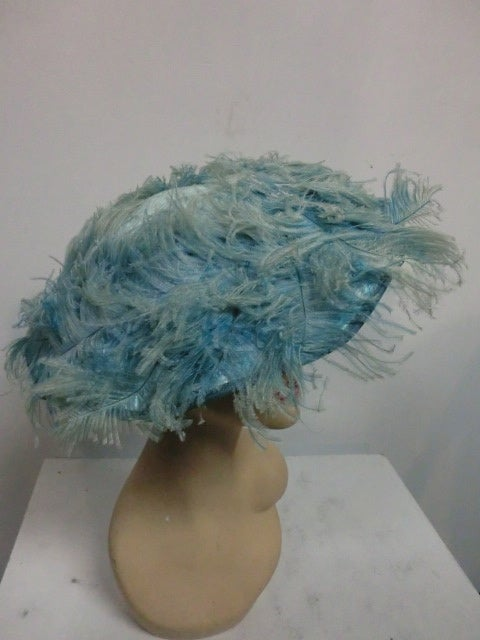 Women's 50s Flo-Raye Pale Aqua Mohair and Silk Velvet Hat w/ Ostrich For Sale