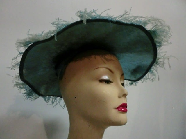 50s Flo-Raye Pale Aqua Mohair and Silk Velvet Hat w/ Ostrich For Sale 1